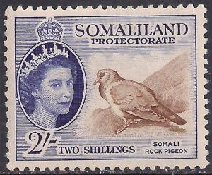 Somaliland 1953 - 58 QE2 2/-d Blue & Brown MM SG 146 ( R1039 )