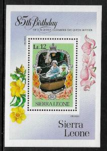 Sierra Leone #693 MNH S/Sheet - Queen Mother's 85th Birthday