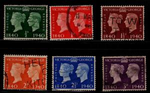 Great Britain Scott 252-257 Used 1940 Victoria and KGVI Used set