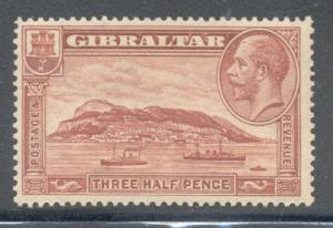 Gibraltar Sc 97a 1 1/2d G V & Rock perf 13 ½ x 14 stamp mint