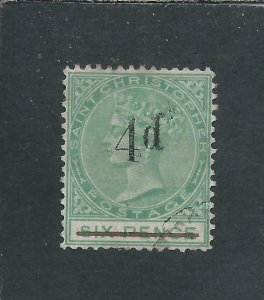 ST CHRISTOPHER 1886 4d on 6d GREEN NO STOP AFTER 'd' FU SG 25a CAT £325