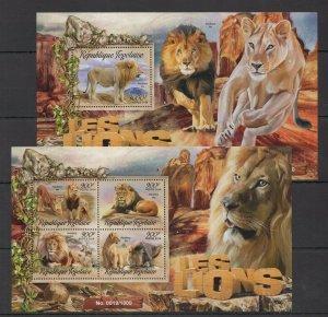 TG023 2016 TOGO FAUNA ANIMALS WILD BIG CATS LES LIONS KB+BL MNH