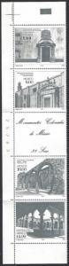 Mexico #1306a MNH Strip of 4 + Label cv $15 (2 Folds Along Perfs)