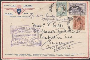 AUSTRALIA 1931 Brisbane acceptance for first flight cover Melbourne - UK....N656