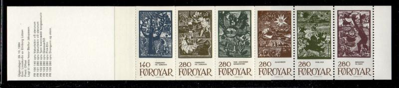 Faroe Islands Sc 120a  1984 Fairy Tale stamp booklet pane mint NH