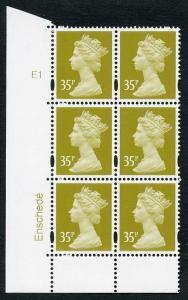 SGY1701 Var 2005 35p yellow-olive cyl E1 pE1 no dot short b and bottom
