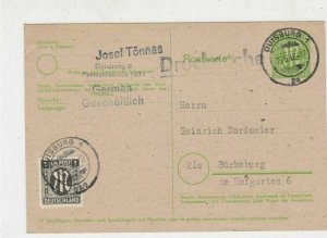 Germany 1946 Duisburg Cancels Allied Occupation Stamp Card to Buckeburg Ref25849