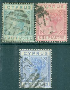 CYPRUS : 1881. Stanley Gibbons #11-13 VF, Used. Each w/Duplex cancel. Cat £112.