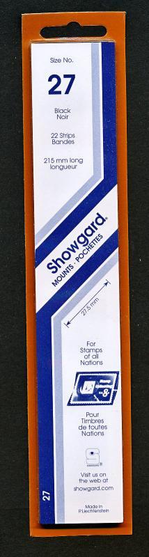 Showgard Stamp Mounts Size 27/215 BLACK Background Pack of 22