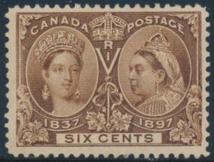 CANADA #55 F-VF OG LH SIX CENTS UNUSED STAMP CV $230 BT7320