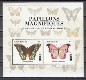Ivory Coast. 2012 Cinderella issue. Butterfly s/sheet. #5. ^