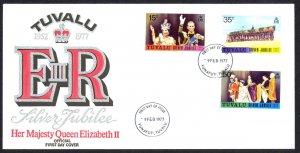 Tuvalu Sc# 43-45 FDC 1977 2.9 Silver Jubilee Issue