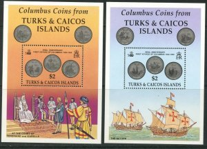 TURKS & CAICOS Sc#1008-1009 1992 Columbus Discovery of America Two SS OG MNH