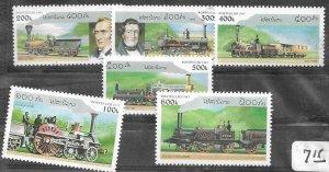 Laos 1305-1310 MNH C/Set LOcomotives 1997 issue