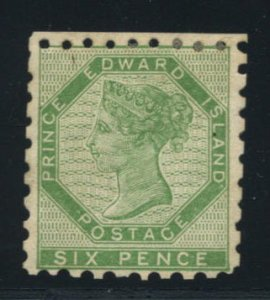 PRINCE EDWARD ISLAND: Sc.#3  *  6d. Green, FABULOUS mint example, Perf.9, wit...