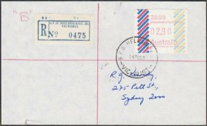 AUSTRALIA 1985 (14 Feb)  $2.80 Frama on Registered cover ex Melbourne.......E186