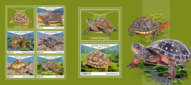 Z08 IMPERF GB18603ab GUINEA-BISSAU 2018 Turtles MNH ** Postfrisch Set