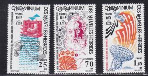 Fr. New Hebrides, #  224-226, First Telephone Call Centenary, NH