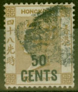 Hong Kong 1885 50c on 48c Yellowish Brown SG41 Fine Used