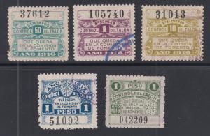 Argentina, Santa Fé, used 1916-1918 Comision de Fomento Fiscals, 5 diff