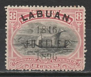 LABUAN 1896 JUBILEE OVERPRINTED DHOW 8C PERF 15