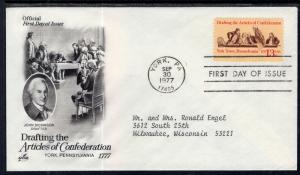 US 1726 Articles of Confederation Artcraft Typed FDC