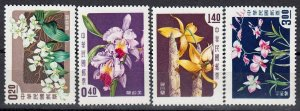 ROC -TAIWAN Sc##1189-1192 Orchids in colors (1958) toning MNH