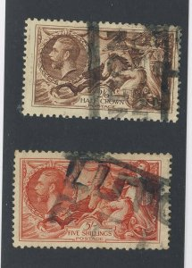 2x Great Britain Used Seahorse Stamps #179-2Sh6p & #180-5 Sh GV = $140.00 US $