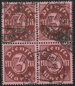 GERMANY 1922-23 3m Brown on Rose OFFICIAL BLOCK OF 4 Sc O16 VFU
