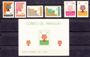Z3003 1961 paraguay set of 7 imperf + s/s 2 gum creases in set #