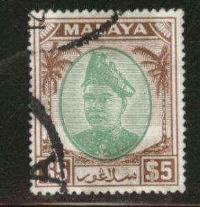 MALAYA Selangor Scott 94 used 1949 stamp tape stain