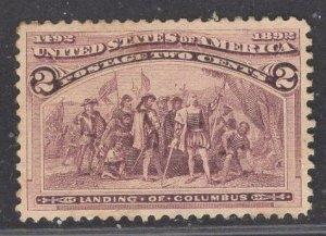 US Stamp #231 2c Brown Violet Landing of Columbus MINT HINGED SCV $12.50