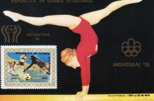 Equatoria Guinea 1976  Montreal Olympics 76/Argentina 78 SS (1) Mi.#Bl.220 MNH