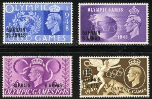 Bahrain Scott 64-67 MNHOG - 1948 Olympic Games O/Ps Set - SCV $7.00