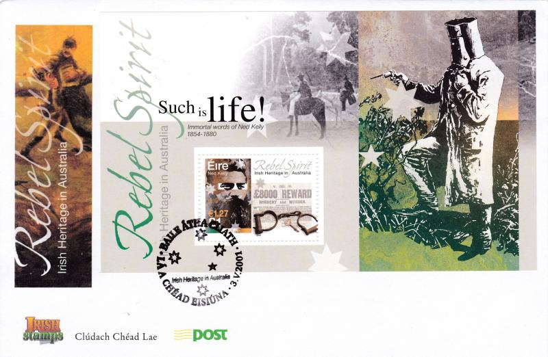 Ireland 2001 Rebel Spirit in Australia Sheet FDC Irish Heritage VF Unaddressed