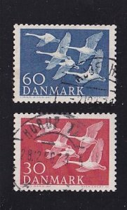 Denmark  #361-362  used  1956  Nordic issue   whooper swans