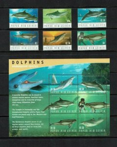 Papua New Guinea: 2003 Protected Species; Dolphins,  MNH set + M/S