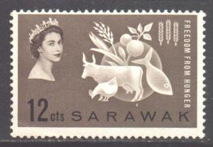 Sarawak Scott 212 - SG203, 1963 Freedom from Hunger 12c MH*