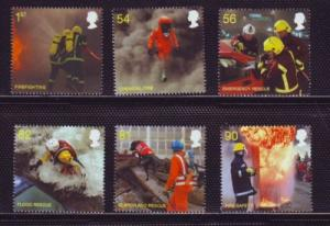 Great Britain Sc 2680-5 2009 Fire & Emergency Services stamp set  mint NH