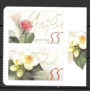 Germany 2294, 2228 Flower S/A booklet pair MNH (z1)