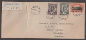 *Tonga Registered Cover, SC# 52, 54, 56 To US Navy Yeoman