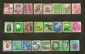 Japan Collection of 24 Different Older Stamps Used
