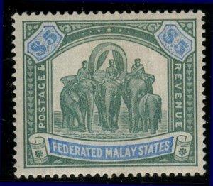 MALAYA FEDERATED MALAY STATES 1904-22 $5 SG50 fine mint....................10496