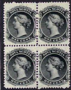 Nova Scotia Sc #8 Queen Victoria 1c. Black, Block of 4 MNH