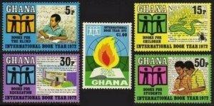 Ghana 445-449,449a sheet,MNH.Michel 458-462,Bl.45. Book Year IBY-1972,Snake.