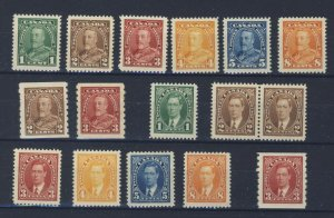 16x Canada Mint stamps #217 to #222 #229-230-Coils #231 to 236 #240 GV=$99.00