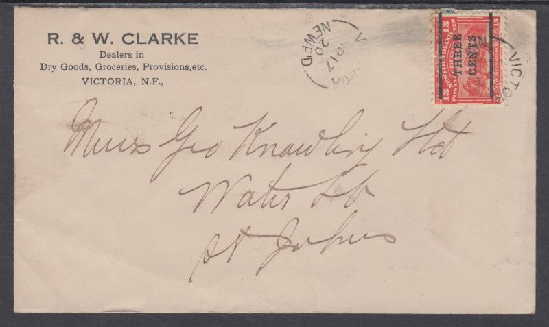 Newfoundland Sc 129 on 1920 advertising cover, VICTORIA-ST. JOHN'S