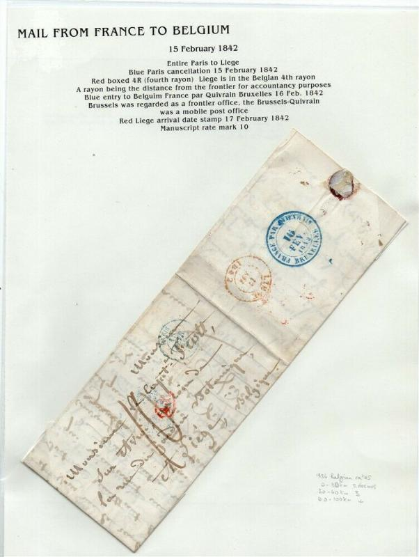 FRANCE Early LETTER/COVER 1842 fine used item Paris - Liege Belgium