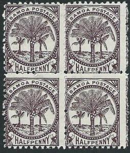 SAMOA 1886-1900 ½d perf 11 mint block of 4 SG57b...........................43120