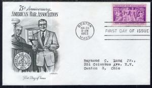 US 1022 Bar Association Artmaster Typed FDC